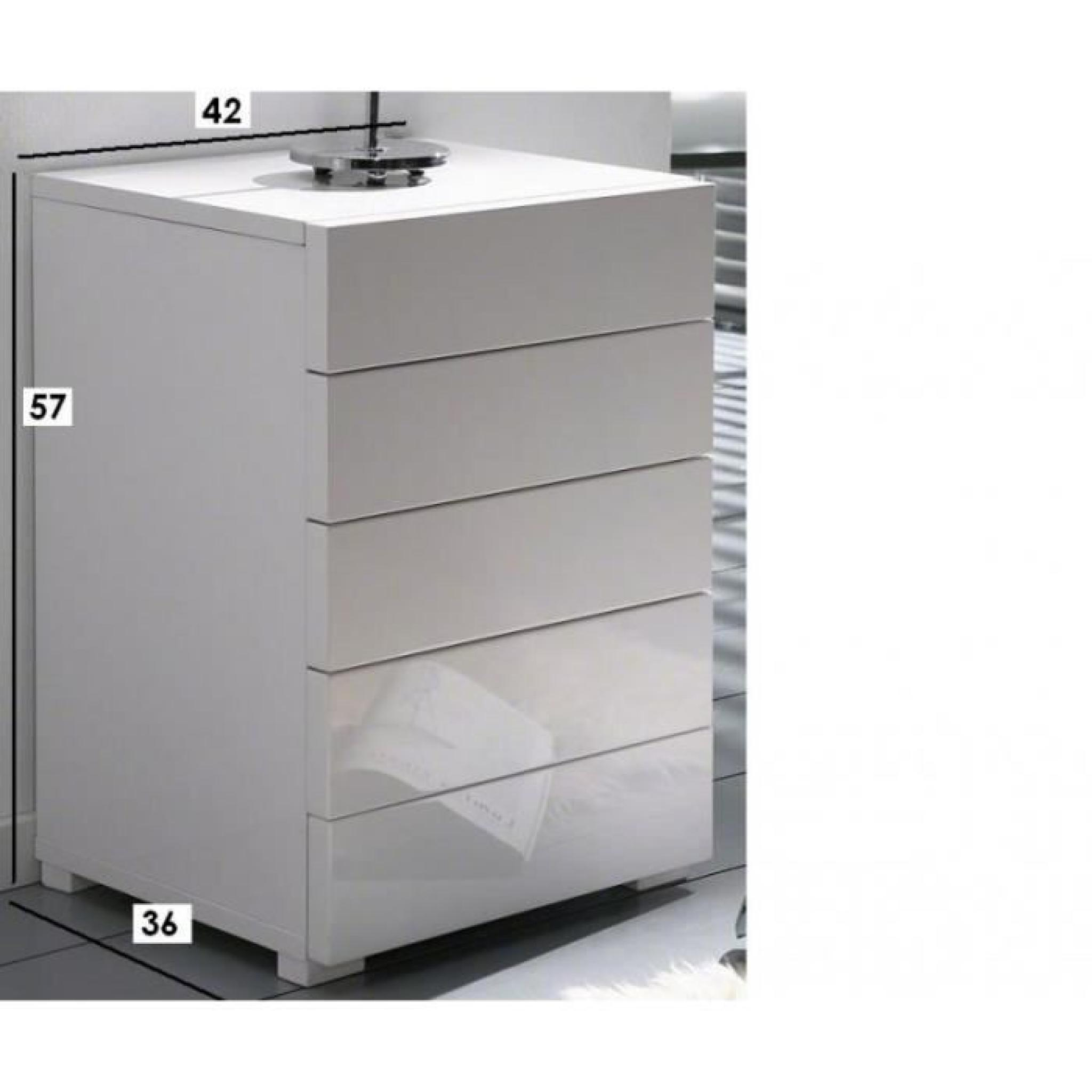 white chevet 5 tiroirs laqu blanc design achat vente table de chevet pas cher couleur et. Black Bedroom Furniture Sets. Home Design Ideas