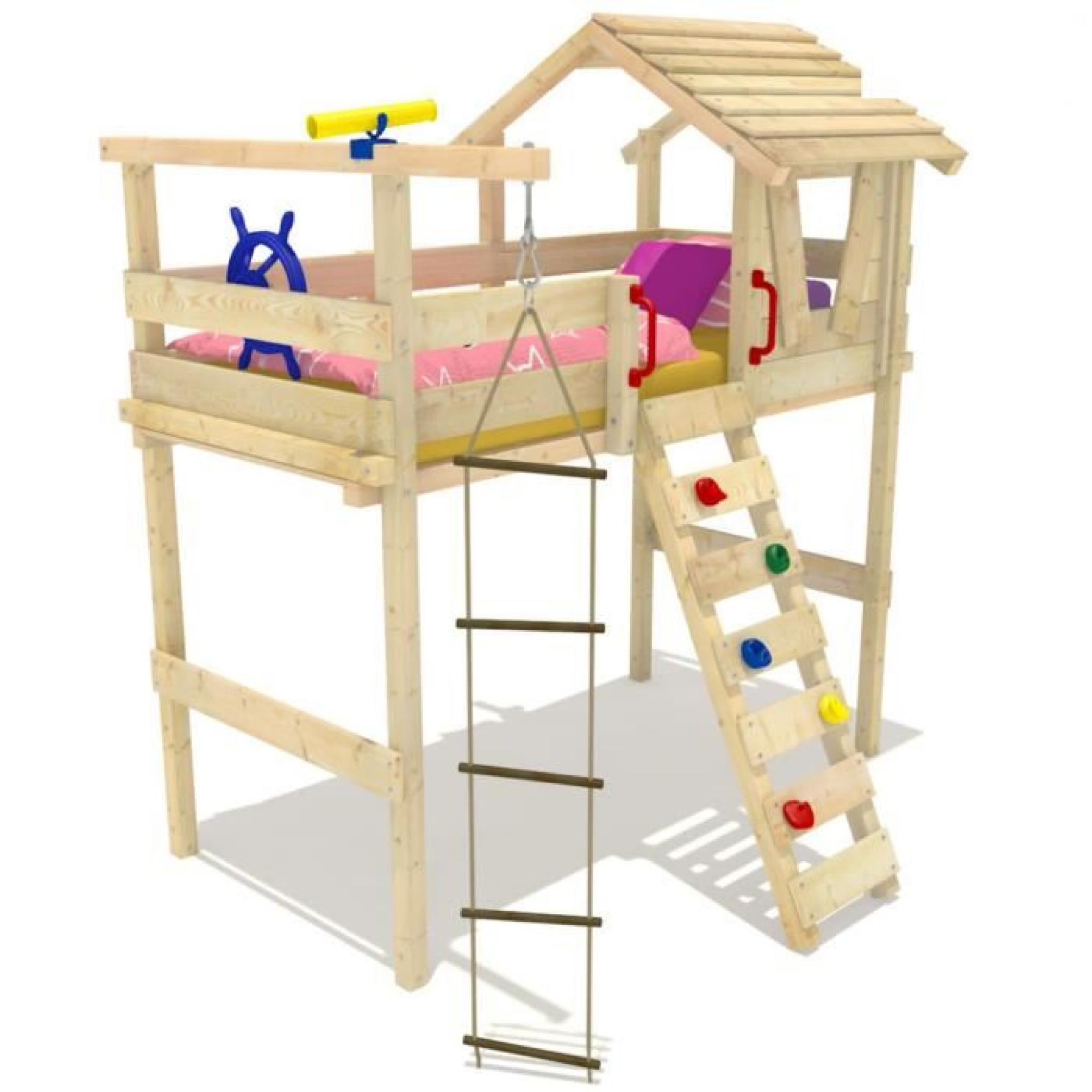 WICKEY lit enfant mezzanine Jungle Hut pas cher