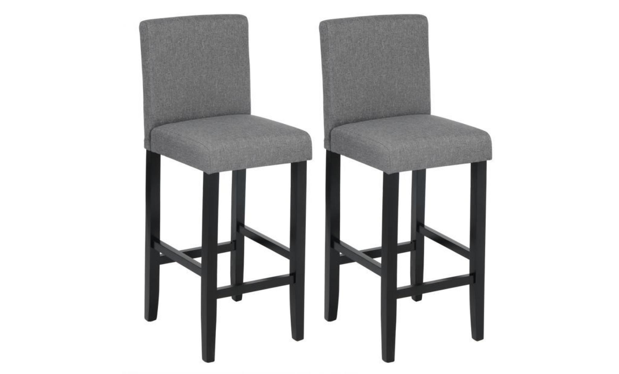 woltu 2 x tabouret de bar avec repose pieds en bois,chaise avec dossier en lin, 41 x 43 x 110cm,gris foncé