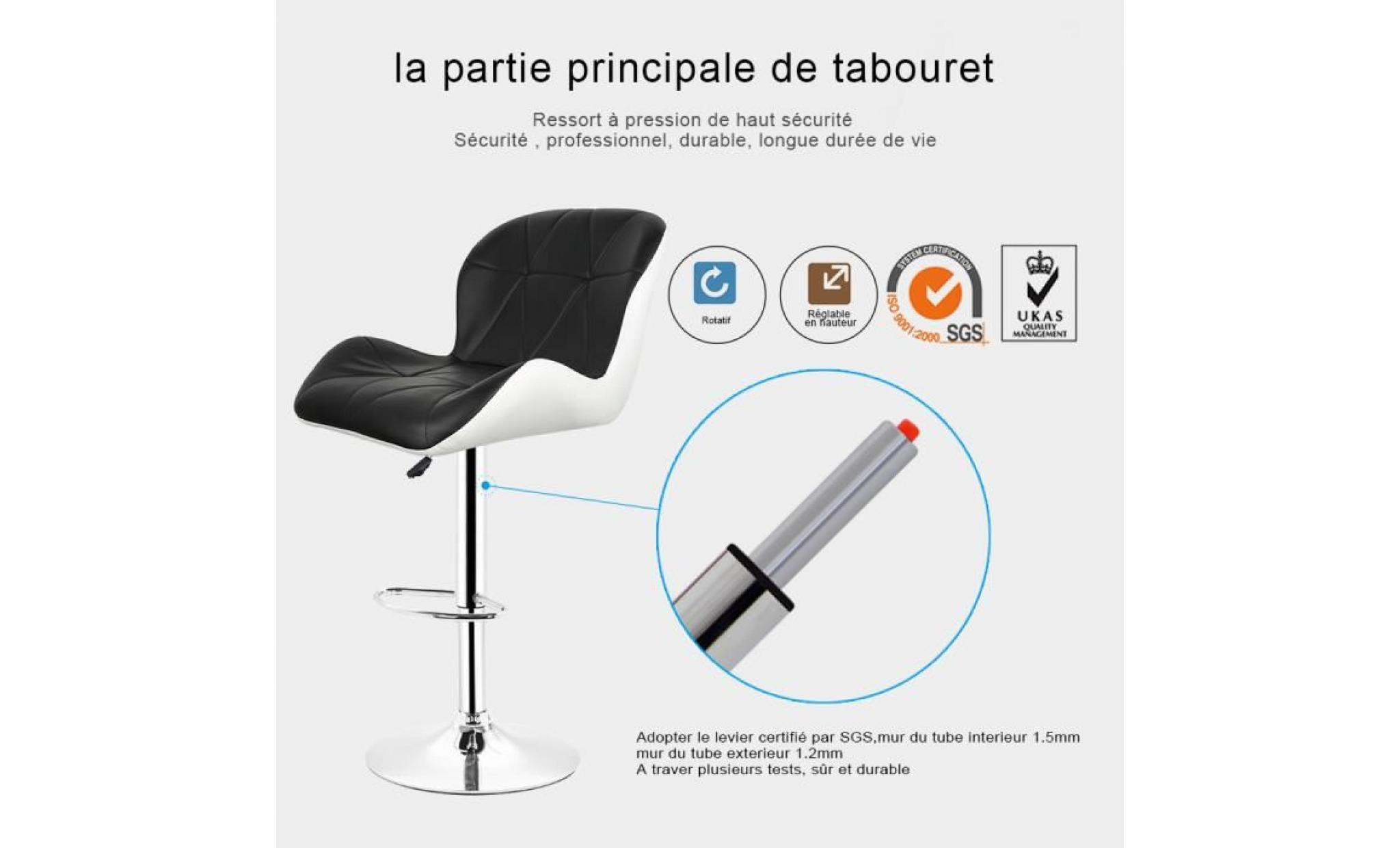 xia lot de 4 tabouret de bar réglable ,chaise de bar pivotant ,tabourets de bar ,blanc pas cher