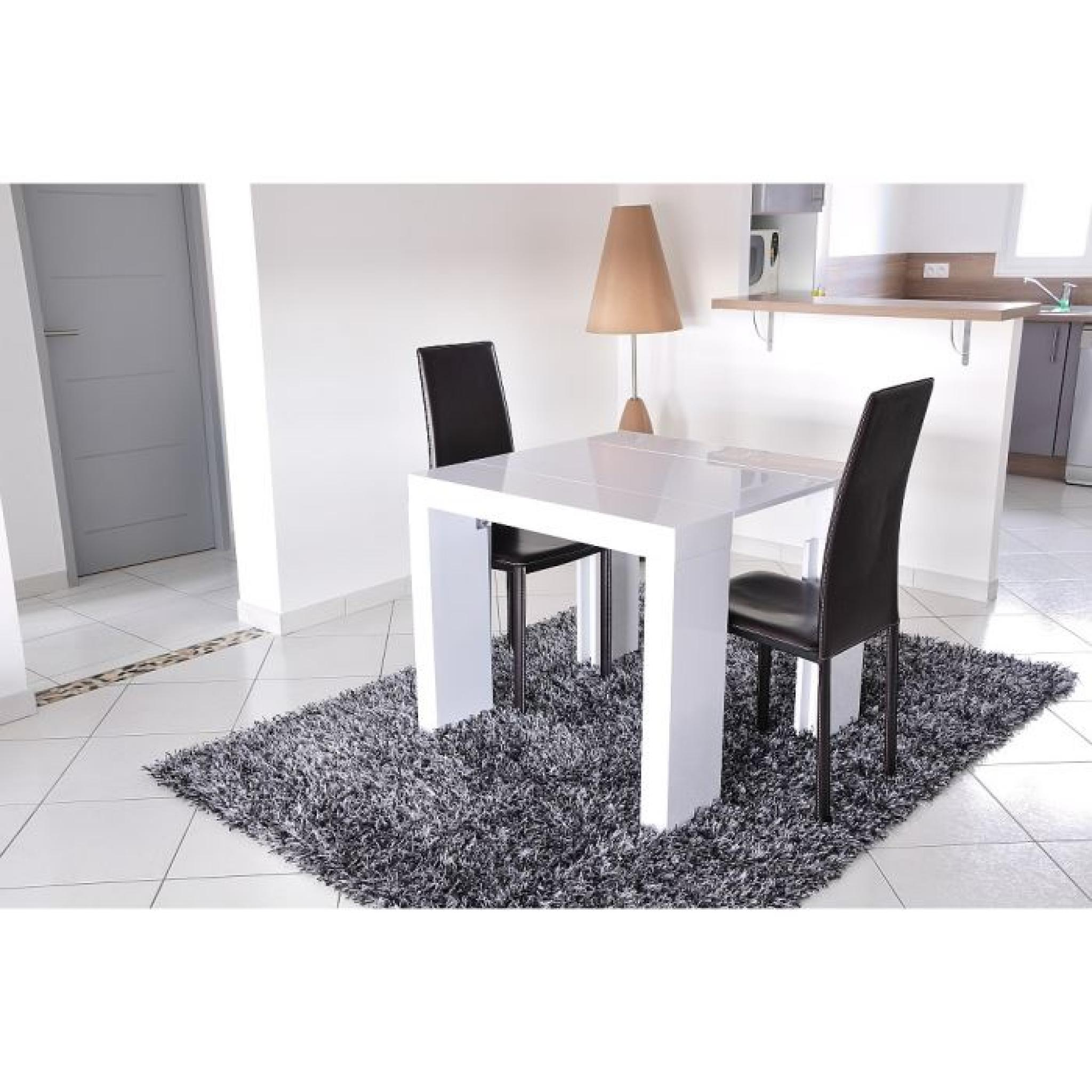 Zack console extensible 250cm laqu blanc achat vente for Table extensible laque blanc
