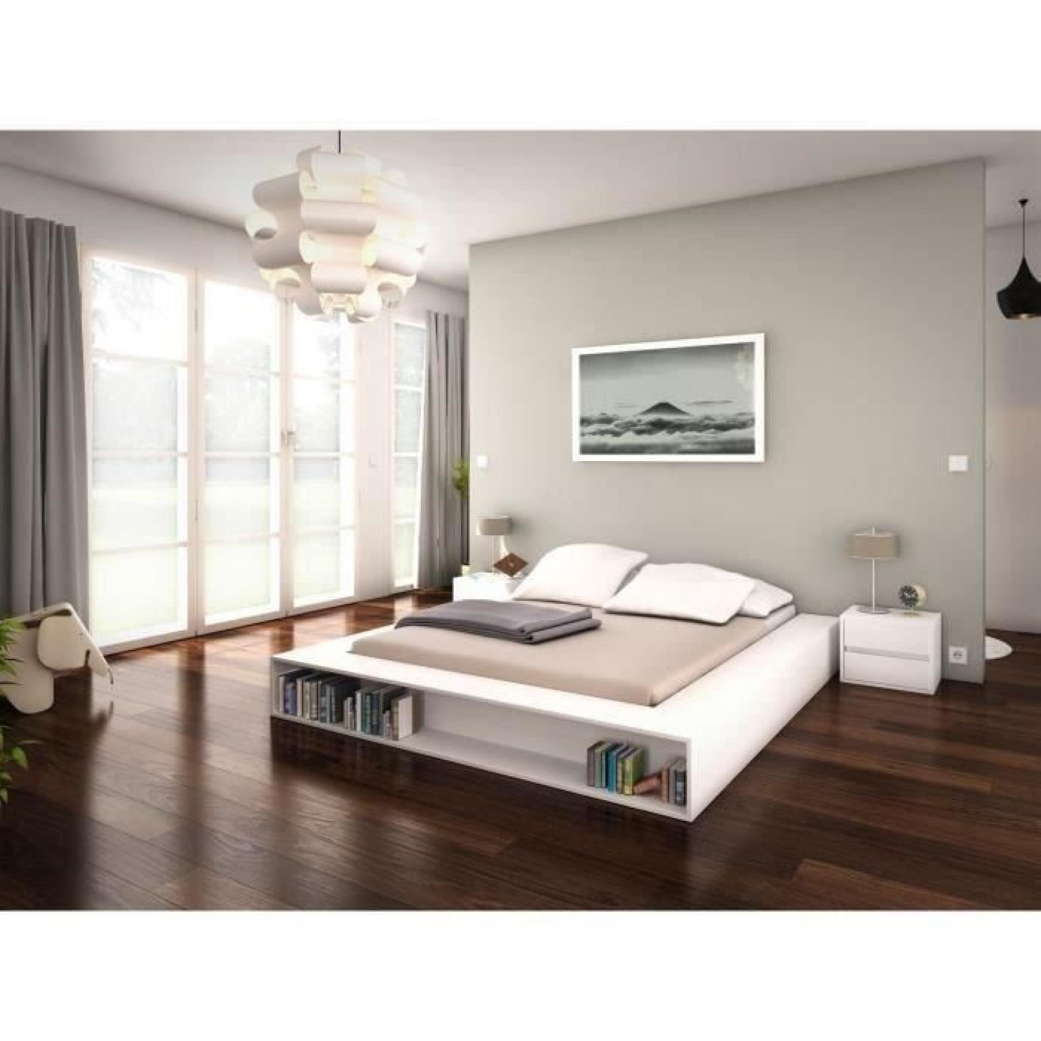 zen lit adulte 2 coffres lat raux 140x200 blanc achat vente lit pas cher couleur et. Black Bedroom Furniture Sets. Home Design Ideas