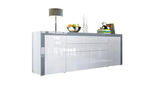 Buffet No name  - buffet  blanc / gris haute brillance  200 cm pas cher