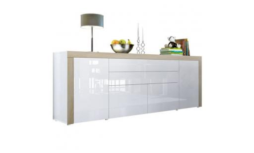 Buffet No name  - buffet  blanc haute brillance bordure chêne brut mdf 200 cm pas cher