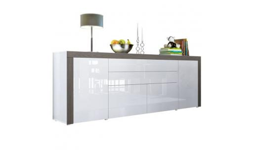 Buffet No name  - buffet  blanc haute brillance bordure mali wengé  200 cm pas cher