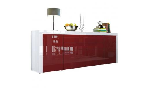 Buffet No name  - buffet  bordeaux / blanc haute brillance 200 cm pas cher