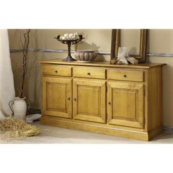 Buffet  - Enfilade 3P/3T Valence Pin massif (Verni incolore) pas cher