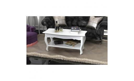 Table basse Ovonni  - table basse 2 couches mdf blanc pas cher