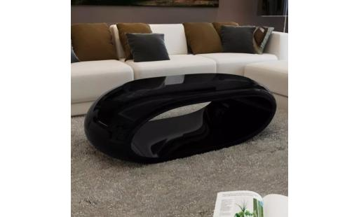 Table basse Ovonni  - table basse fibre de verre noir brillant pas cher