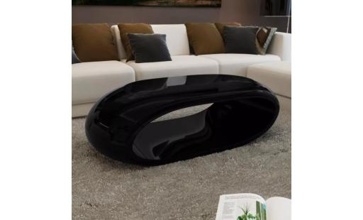 Table basse Ovonni  - table basse style contemporain fibre de verre noir brillant pas cher
