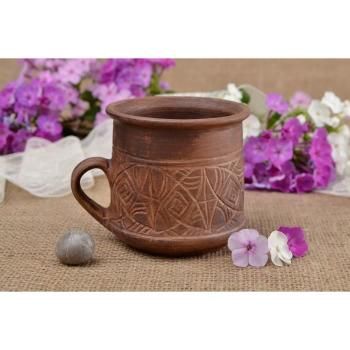 Meuble tv  - Tasse a the fait main Mug original 25 cl marron en pas cher